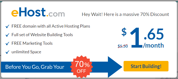 eHost Hosting 70% Discount