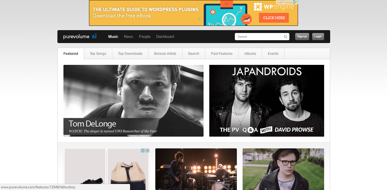 music site - purevolume