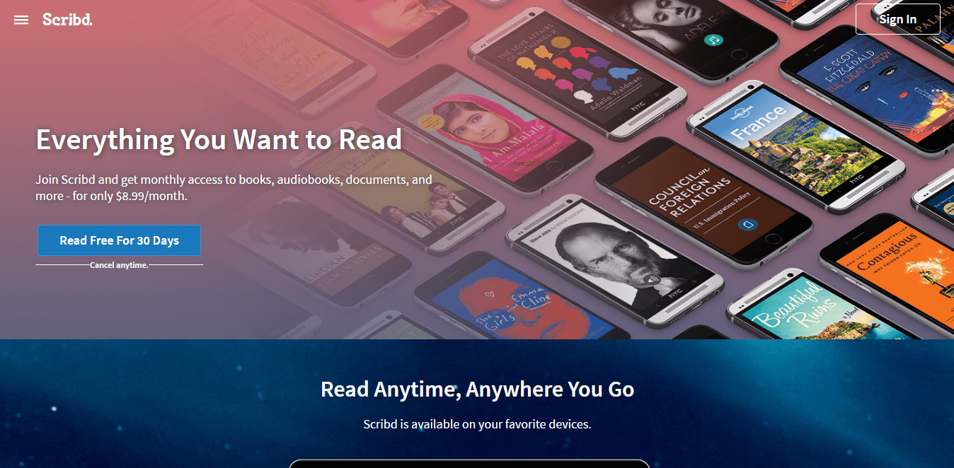 Scribd Free Trial for 30 days