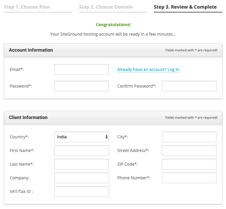 Fill your Account Information