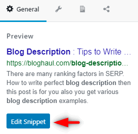 click on edit snippet
