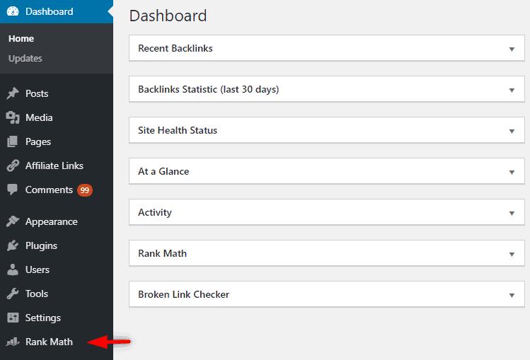 rankmath plugin option in wordpress dashboard